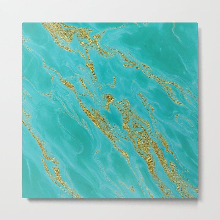 Luxury and glamorous gold glitter on aqua Sea marble Metal Print