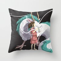 spirited away Throw Pillows featuring Spirited Away by ThisTinyBean.