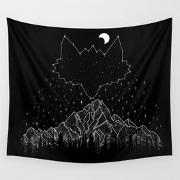 Mountains Fox Wall Tapestry