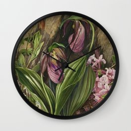New England Lady Slipper Wild Orchids still life painting Wall Clock