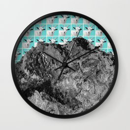 Goats over the mountain Wall Clock