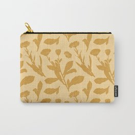 Block Print Marigold Floral in Flax Yellow Carry-All Pouch
