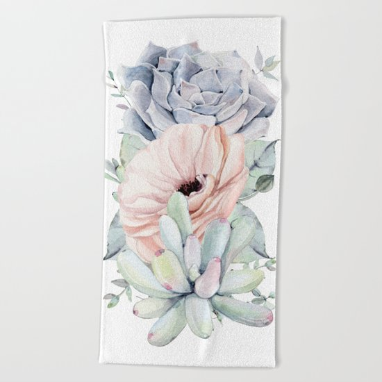Pretty Succulents by Nature Magick Beach Towel