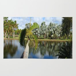 Palm Reflection - Tropical Garden Pond Rug
