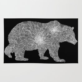 Floral Linework Bear in White Rug