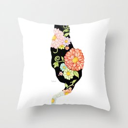 Exotic Floral Black Cat Silhouette Throw Pillow