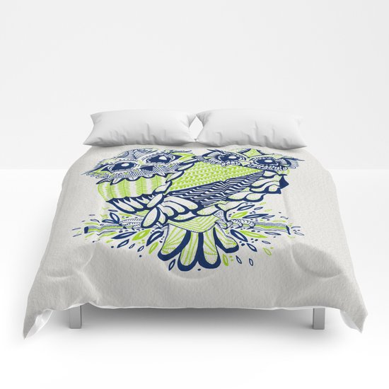 Owls – Navy & Lime Comforters