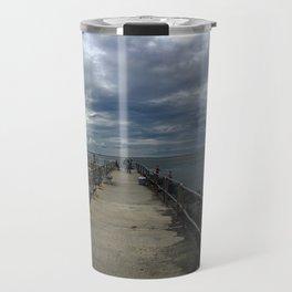 Cloudy day at Barnegat Lighthouse Travel Mug