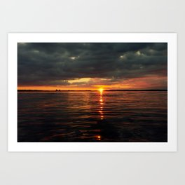 Above sea level, dramatic sunset over the ocean Art Print