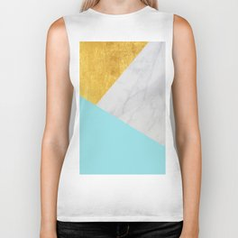 Carrara marble with gold and Pantone Island Paradise color Biker Tank