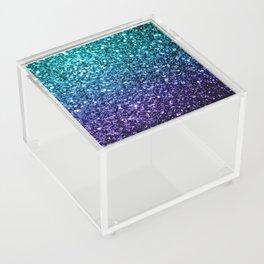 Beautiful Aqua blue Ombre glitter sparkles Acrylic Box