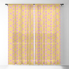 SUNBURST hot pink sun motif on sunshine yellow background Sheer Curtain