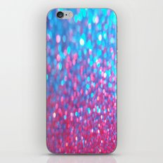 Sky Blue Pink Sparkle Glitter Gradient iPhone Skin