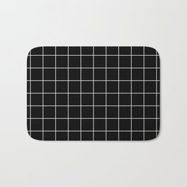 Grid Simple Line Black Minimalistic Bath Mat