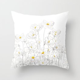white cosmos flowers  ink and watercolor Throw Pillow