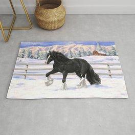 Black Gypsy Vanner Draft Horse Running in Snow Rug