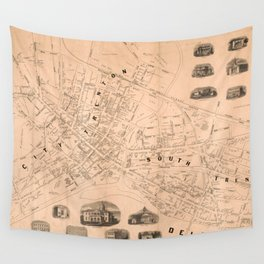 Vintage Map of Trenton NJ (1849) Wall Tapestry