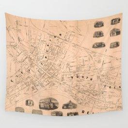 Vintage Map of Trenton NJ (1849) Wall Tapestry
