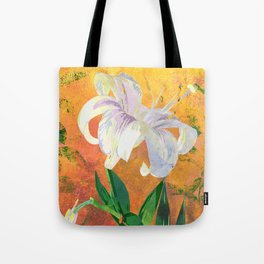 White Lily Floral Watercolor Portrait - Rose Gold Background Tote Bag