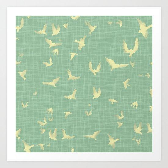 birds in aqua Art Print