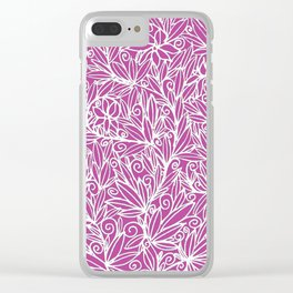Heart of Leaves white on pink Clear iPhone Case