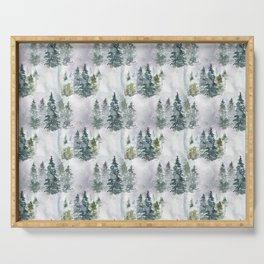 Watercolor forest green snow Christmas pine tree Serving Tray