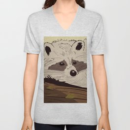 Raccoon on tree Unisex V-Neck