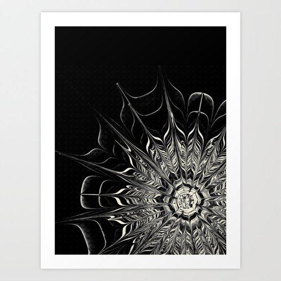 Monochrome Abstract Flower Art Print