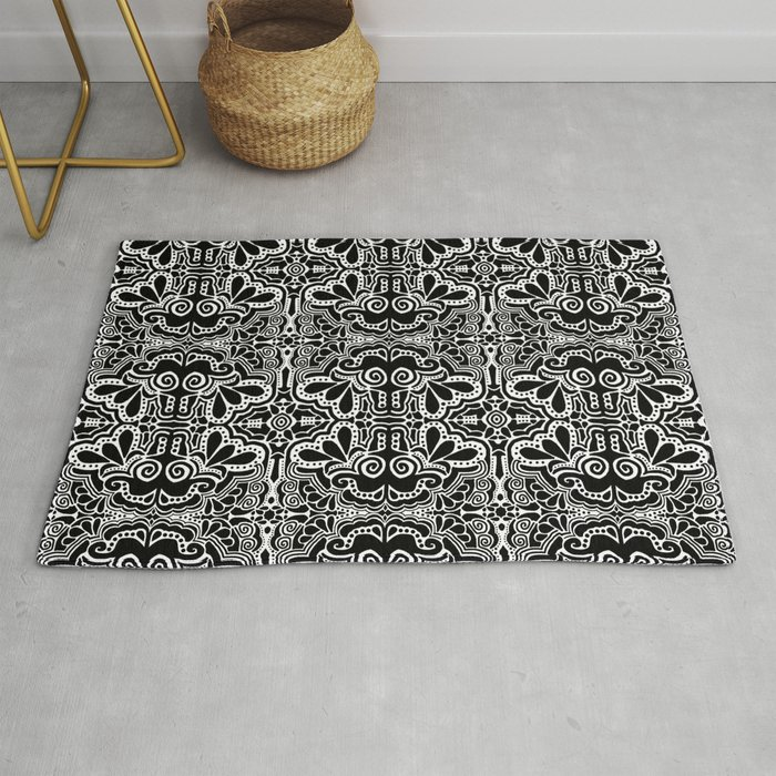 Black White Damask Abstract Rug By Decampstudios