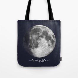 Waxing Gibbous Moon on Navy Latin Tote Bag