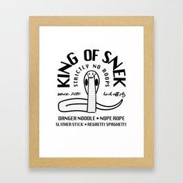 King Of Snek Funny Motorcycle Biker Style Snake Framed Art Print