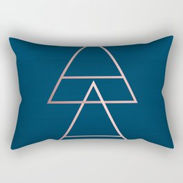 Rule of Thirds Triangles: Rose Gold & Navy Rectangular Pillow