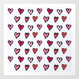 Cute Girly Pink Hand Drawn Hearts on White Pattern Art Print