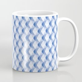 3D Optical Illusion: Blue Icosahedron Pattern Coffee Mug