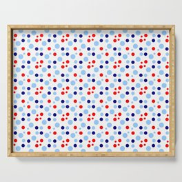 new polka dot 17 -dark blue, light blue and red Serving Tray