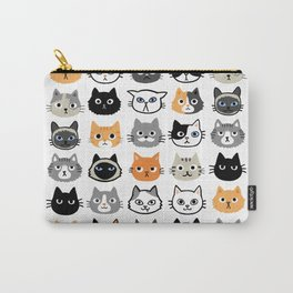 Cute Cats   Assorted Kitty Cat Faces   Fun Feline Drawings Carry-All Pouch