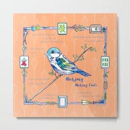 Sparrow Mahjong in Orange Metal Print