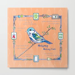 Sparrow Mahjong in Orange Metal Print