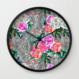 Flowery on linear mosaic Wall Clock