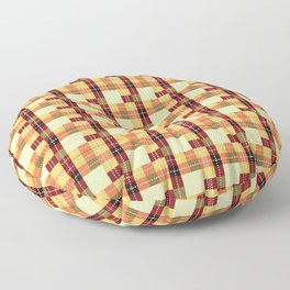 Plaid White Stitch Yellow And Brown Lumberjack Flannel Floor Pillow