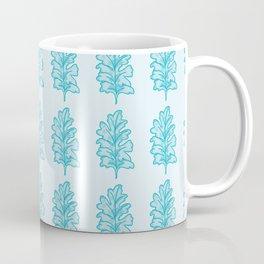 Aqua Dusty Miller Leaves Pattern Coffee Mug