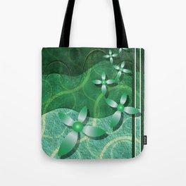 Emerald Fractal Scrapbooking Floral Tote Bag