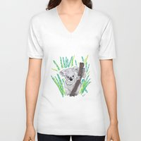 koala V-neck T-shirts featuring KOALA by Andrea Lacuesta Art