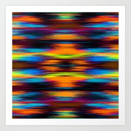 vintage psychedelic geometric abstract pattern in orange brown blue yellow Art Print