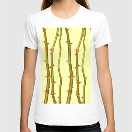 THORN BUSH CANES ABSTRACT IN YELLOW ART T-shirt