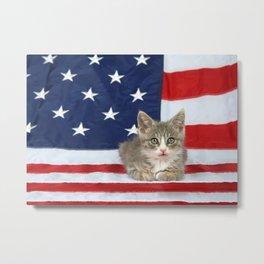 Patriotic Tabby Kitten Metal Print