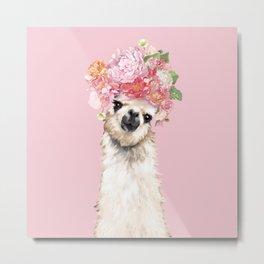 Llama with Flower Crown in Pink Metal Print