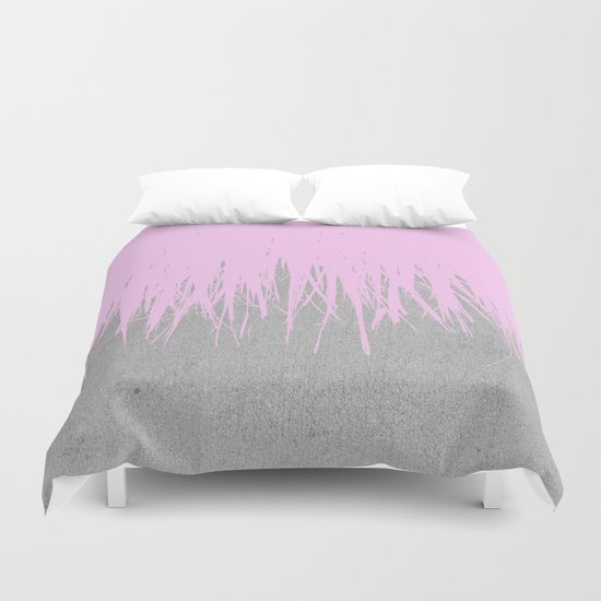 Concrete Fringe Blush Duvet Cover