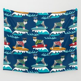 schnauzer surfing dog breed pattern Wall Tapestry