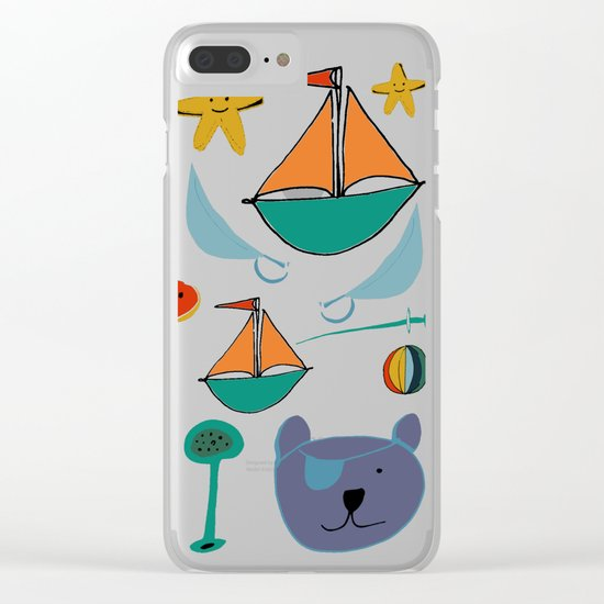 cat and bear at the beach blue green Clear iPhone Case